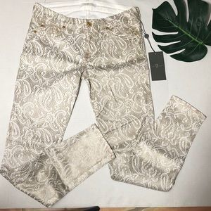 7 for All Mankind Gold & White Metallic Jeans 27